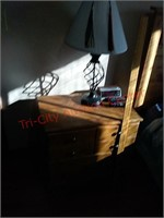 Headboard, bed frame, nightstand, matches lots
