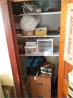 Contents of closet, 8 track player, etc