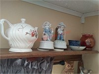 2 music boxes & dishes