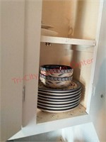 Contents of upper cabinets in upstairs kitchen