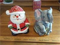 Santa & elephant cookie jars