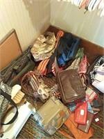 Contents of bedroom closet, purses, hangers, etc