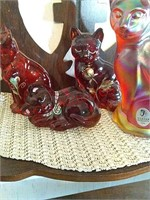 4 Fenton hand painted glass cats