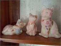 5 hand painted Fenton glass cats