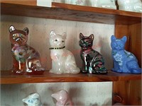 4 hand painted Fenton glass cats
