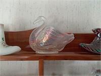 3 glass fenton pieces
