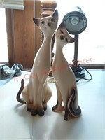 """Vintage napcoware siamese cats - approx 13.5"""" tall"""