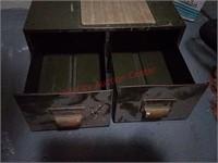 Vintage metal card file drawers, 18 w x 17 d x 7