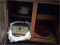 Contents of basement cupboard, enamelware, etc
