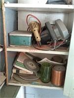 Corner contents in garage cabinet
