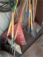 Propane tank, shovels