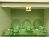 """Jadeite """"Jane Ray"""" 6 Plates, 6 Salad Plates, 6"""