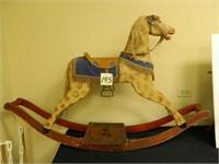 "Wood Rocking Horse w/Glass Eyes, 34"" Tall x"