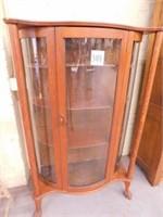 Oak Curved Glass Curio Cabinet w/ Claw Feet -