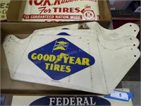 """3 vintage Goodyear Tire signs/stands - approx. 8"""""""