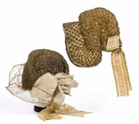 Sample of a collection of antique German folk headdresses and bonnets. From the collection of the late Irene Sarnelle, Staunton, VA