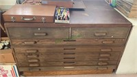 Large artist storage work table - 8 long drawers.