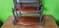 RARE Antique English Barley Twist Mirrored Shelf