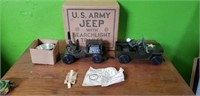 Antique Marx Metal US Army Jeep & Trailer in Box
