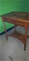 Barley twist tiger oak side table