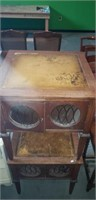 Pair of Wooden side table faux leather inlay