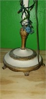 Vintage Brass Accented Floor Lamp & Decor