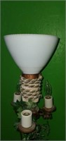 Antique Cast Iron Milk Glass Globe Floor Lamp