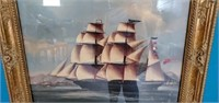 Gold Gilded Framed British Barque Ship Print