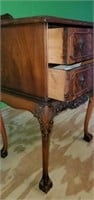 Antique Tiger Oak Carved Wood 2 Drawer Table
