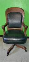 Tiger Oak Wooden Office Chair with Leather Enlay