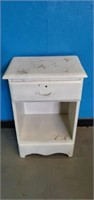 Small White Wooden Bed Side Table with Drawer
