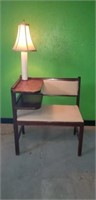 Vintage gossip bench with light