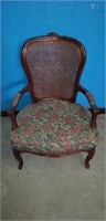 Wood upholstered arm chair