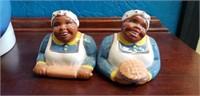 Clay Art Black Americana cookie jar & salt pepper