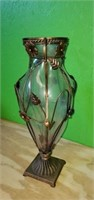 Large Decorative Glass Vase w Metal Floral Design