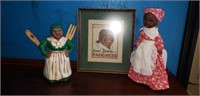Aunt Jemima wall hanger, doll, and spoon jar