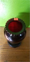 Large Vintage Ruby Red Glass Vase & Stand
