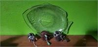 Lot of 3 Vintage Open Face Reels & Fish Platter