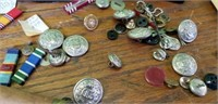 Estate lot Military Metals Buttons & More