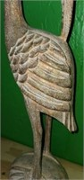 Beautiful Wood Carved Heron Bird Figurine