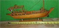 Small Handmade Wooden Decorative Ship