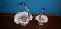 Pair of ruffled edge Fenton baskets