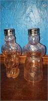 Pink depression glass black americana salt and