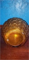 Amber colored glass pitcher with handle