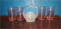 Crystal vase w/ birds, 4 mid century modern