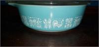 Aqua harvest print pyrex 1 pt. bowl