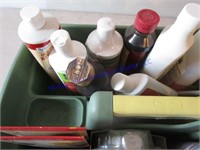 TOTE WITH CLEANING SUPPLIES