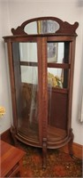 China cabinet with broken glass approx 65 inches