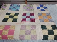 Quilt, Nine Patch Pattern, 68 x 72 in.