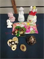 Cigar tin, salt/peppers, figurines & glassware